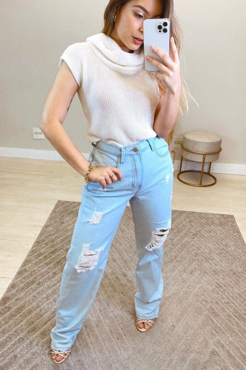 Calça Jeans Feminina Wide Leg Destroyed