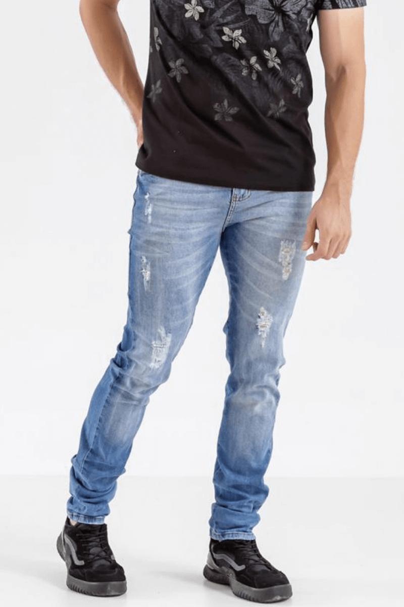 Calça Jeans Masculina Slim Max 7 Azul Claro