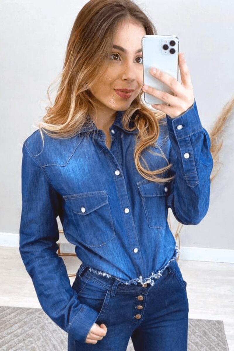 Camisa Feminina Jeans