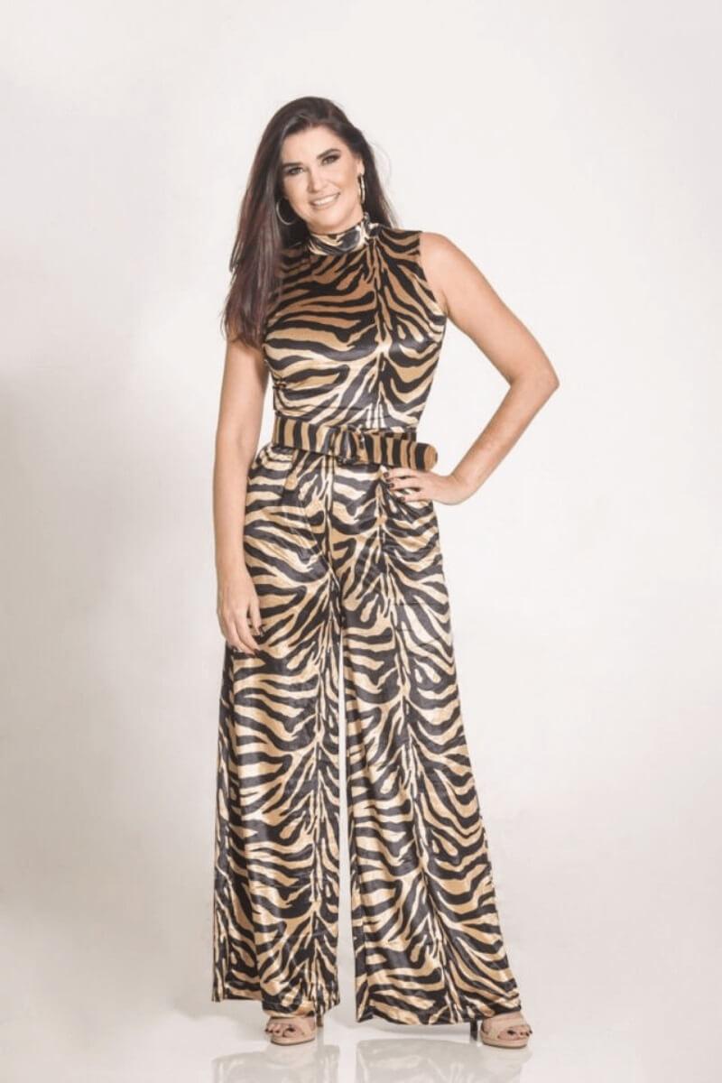 Macacão Feminino Animal Print c/ Cinto