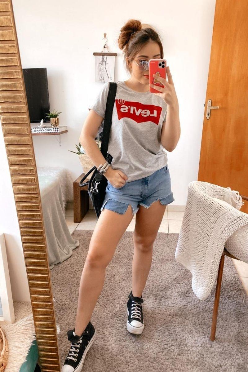 Short Jeans Feminino Curto Tezz