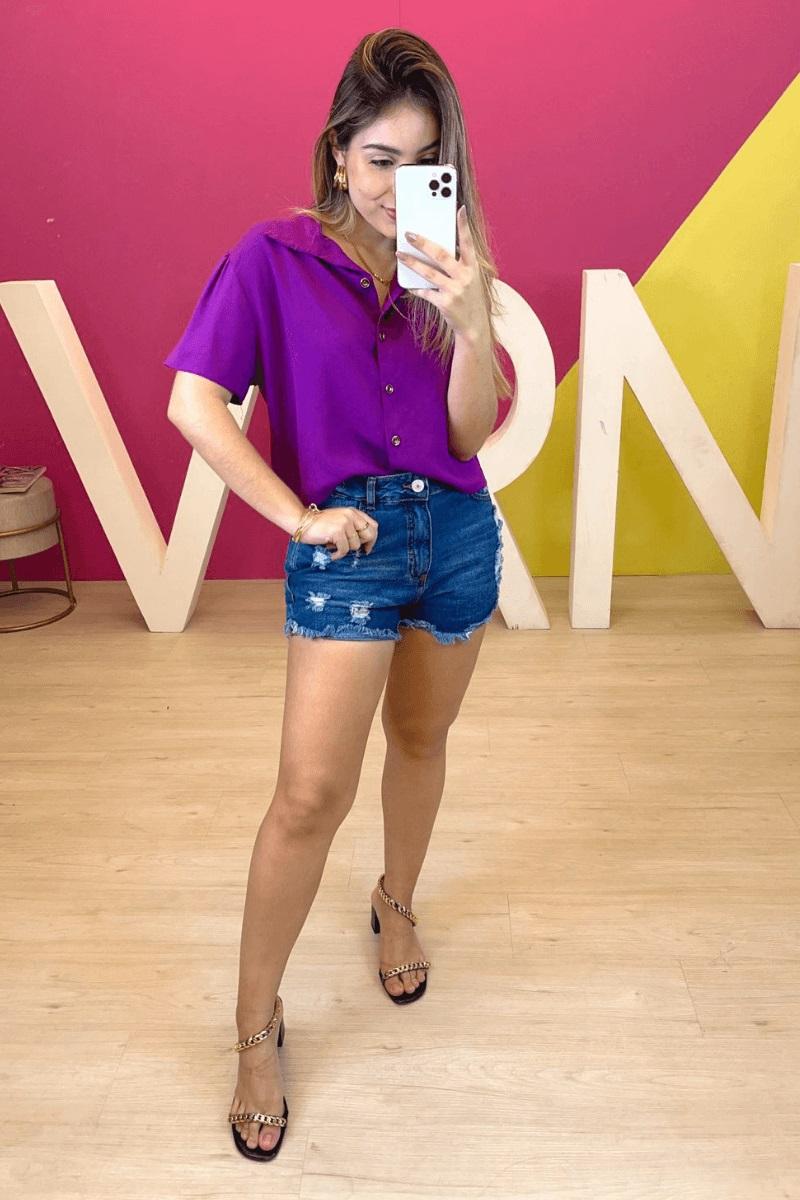 Short Jeans Feminino Escuro C/ Rasgos