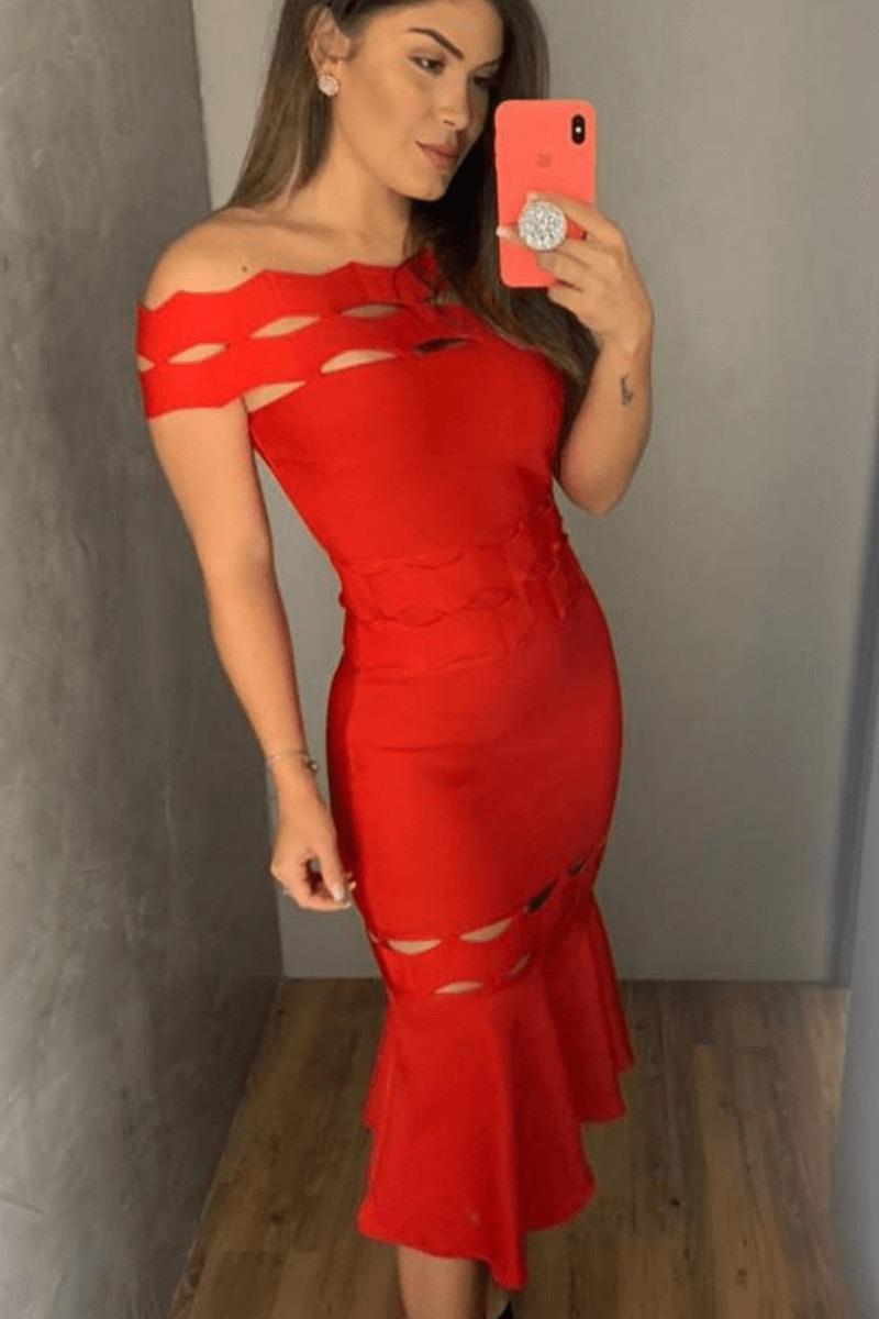 Vestido Feminino Bandagem Sem Detalhe PeB