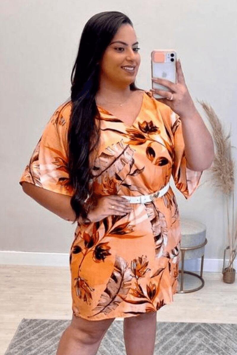 Vestido Feminino Estampado Plus