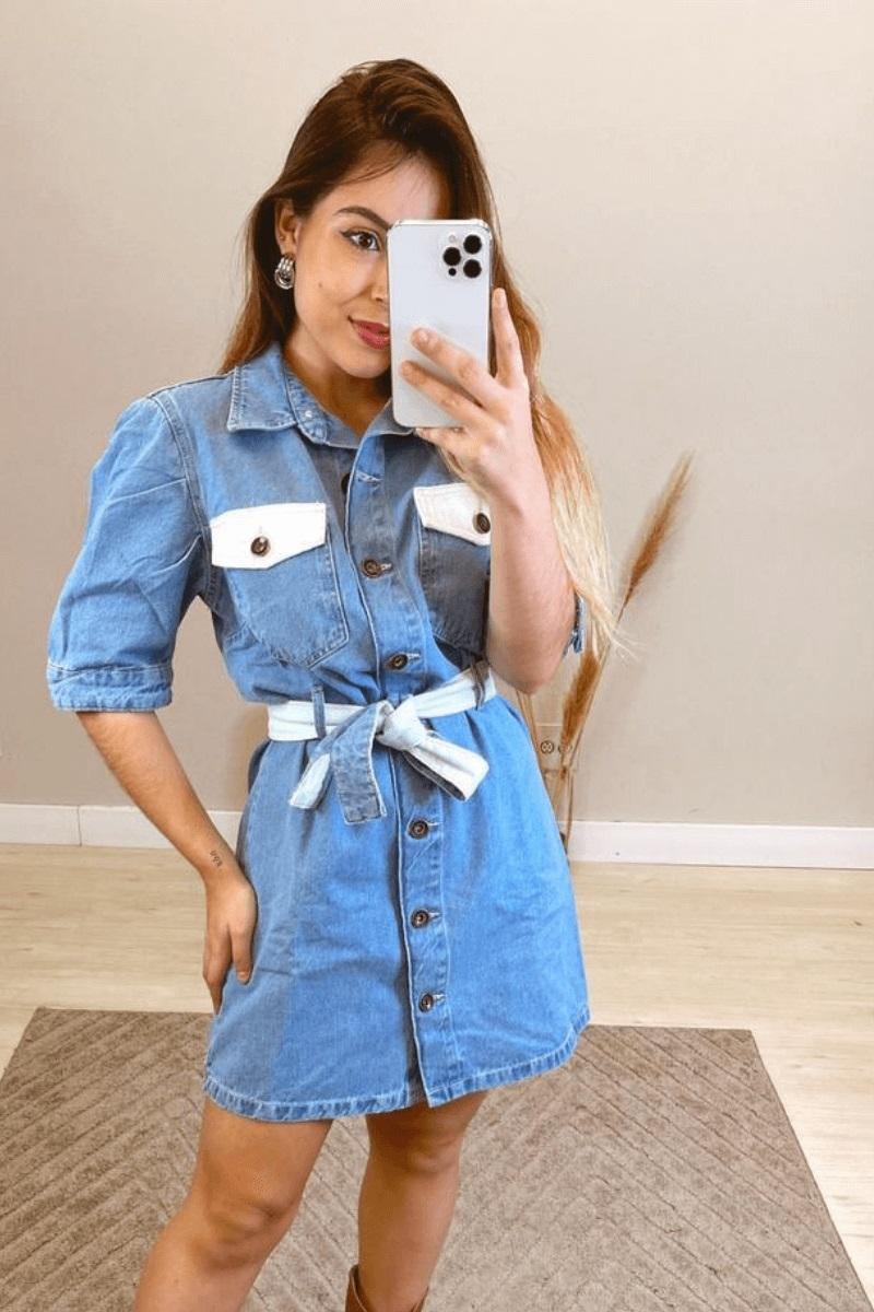Vestido Feminino Jeans Com Cinto