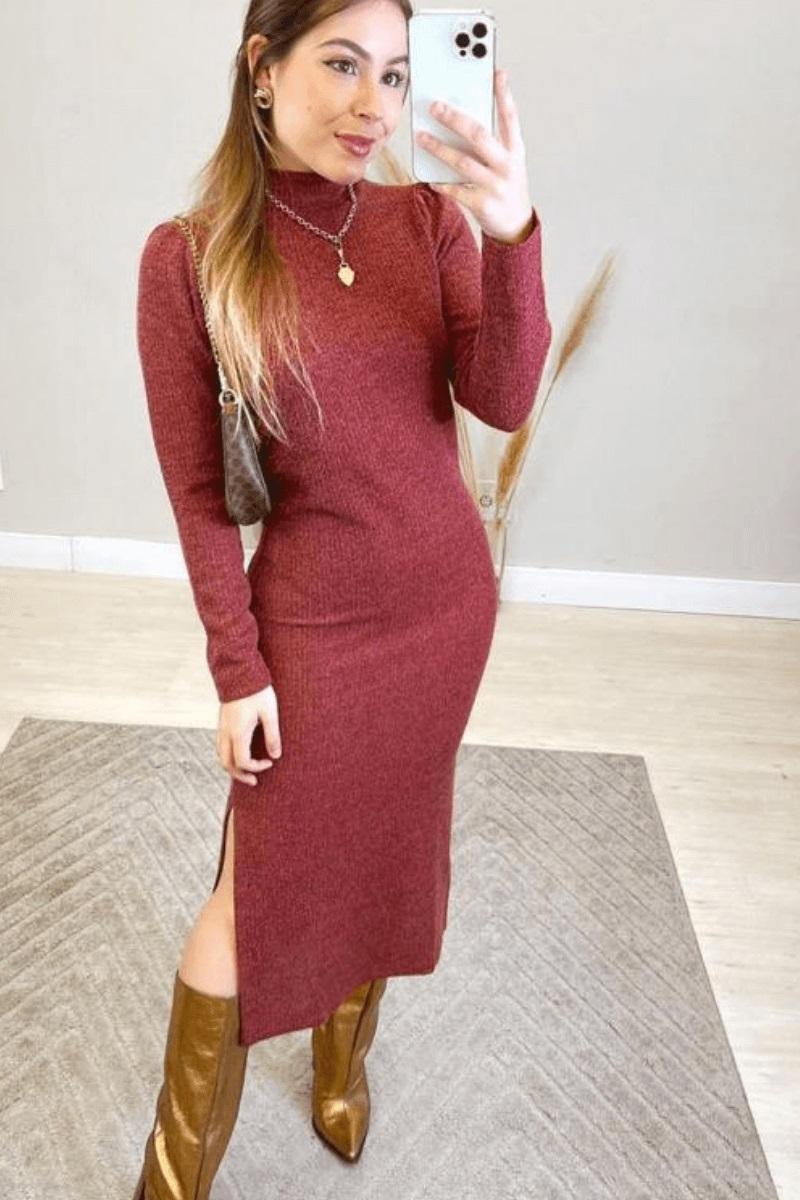 Vestido Feminino Midi  Manga Longa