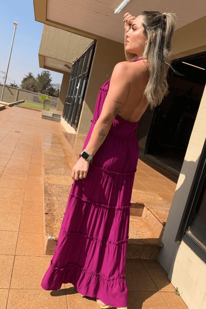 Vestido Feminino Viscose Babados