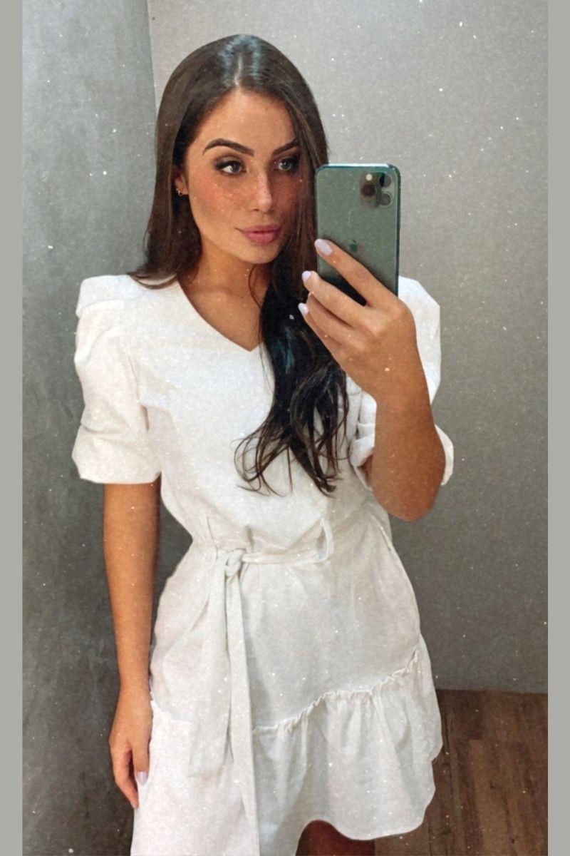 Vestido Linho Manga Bufante