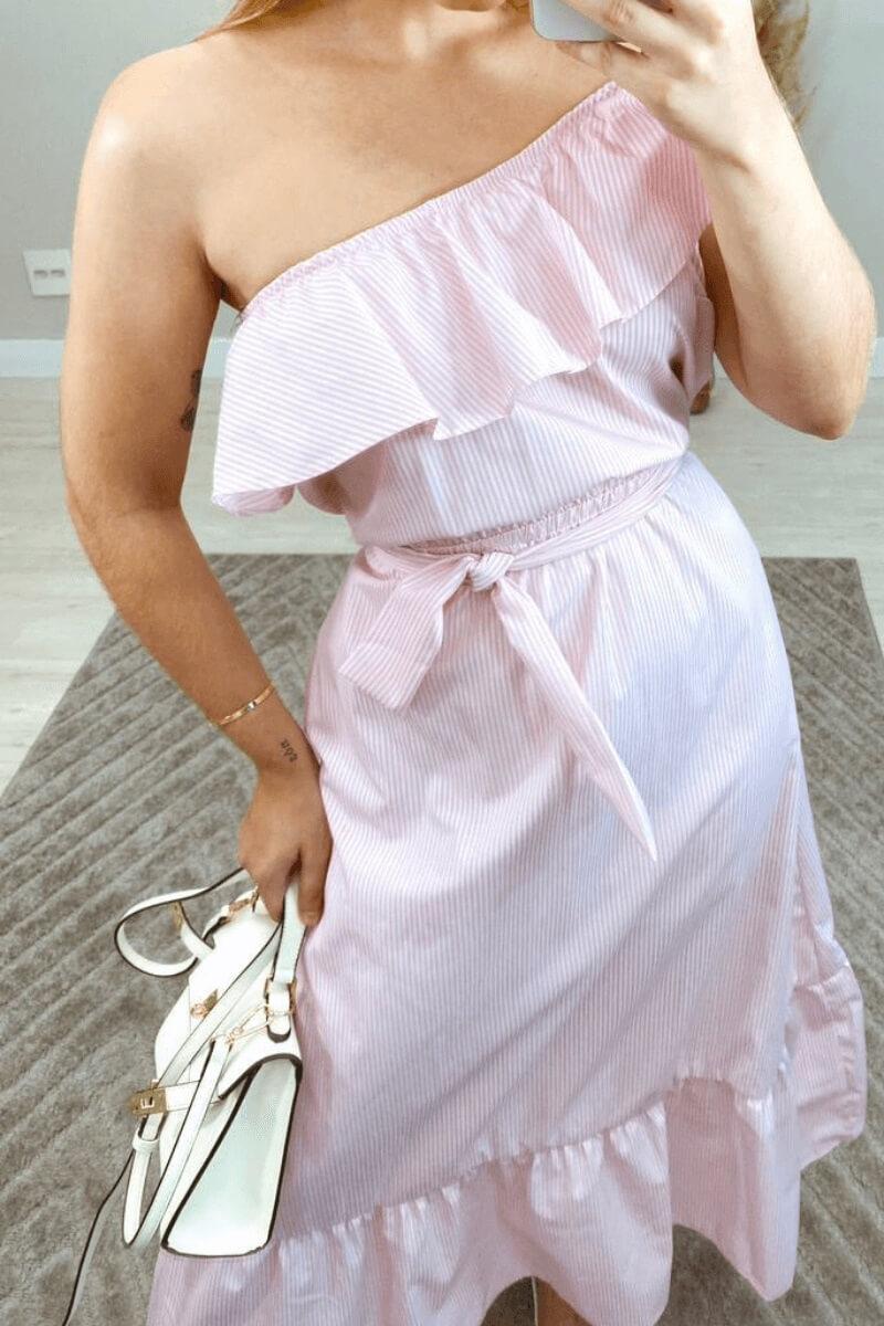Vestido Listrado Midi