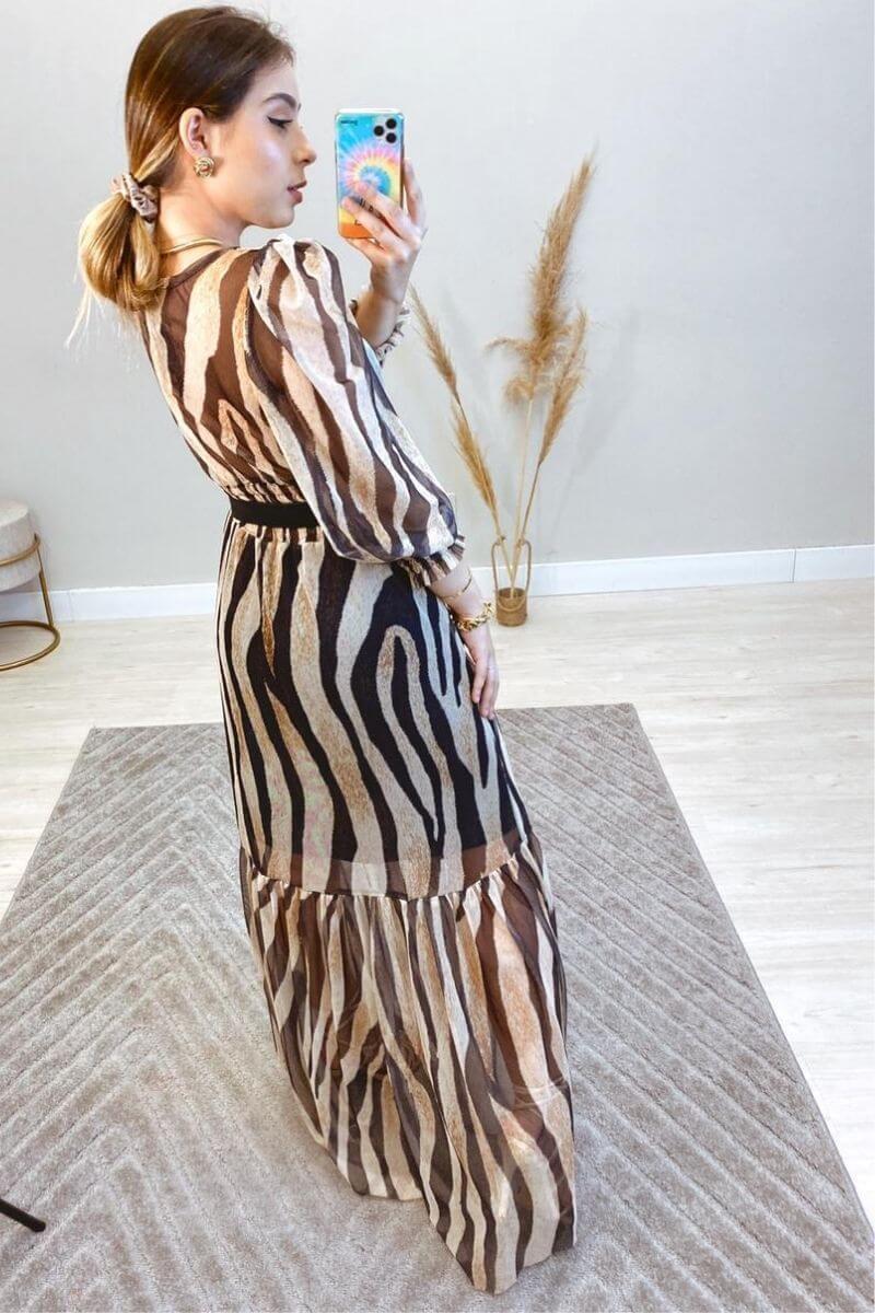 Vestido Longo Animal Print