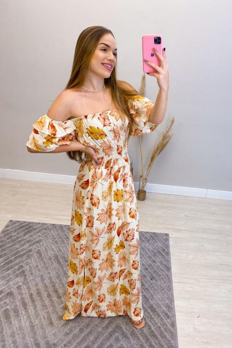 Vestido Longo Estampado Flower