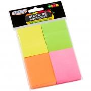 Bloco Notas Adesivas Brw 38X51mm Neon 4 Blocos 100 Folhas Cada