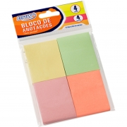 Bloco Notas Adesivas Brw 38X51mm Pastel 4 Blocos 50 Folhas Cada