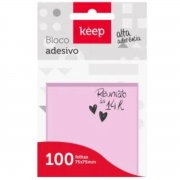 Bloco Notas Adesivas Keep Rosa 75x75mm C/100 Folhas