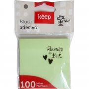 Bloco Notas Adesivas Keep Verde 75x75mm C/100 Folhas