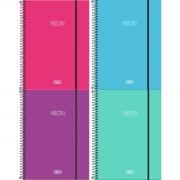 Caderno Espiral Capa Dura  Universitário 1 Matéria (80 Folhas) ou 10 Matérias (160 Folhas) Neon Tilibra