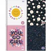 Caderno Espiral Capa Dura  Universitário 1 Matéria (80 Folhas) ou 10 Matérias (160 Folhas) Pepper Feminino Tilibra