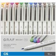 Caneta Brush Fine Cis 12 Cores