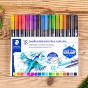 Caneta Brush Pen Aquarelável Staedtler Ponta Dupla 18 Cores