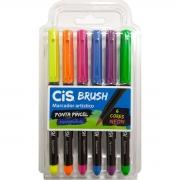 Caneta Cis Brush Ponta Pincel Para Lettering Aquarelável 6 Cores Neon