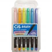 Caneta Cis Brush Ponta Pincel Para Lettering Aquarelável 6 Cores Pastel