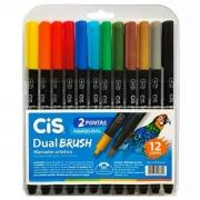 Caneta Cis Dual Brush Ponta Pincel Para Lettering Aquarelável 12 Cores