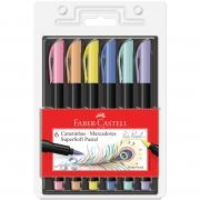 Caneta Faber Castell Brush Pen Ponta Pincel SuperSoft Pastel C/6