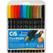 Canetinha Dual Brush Cis 12 Cores
