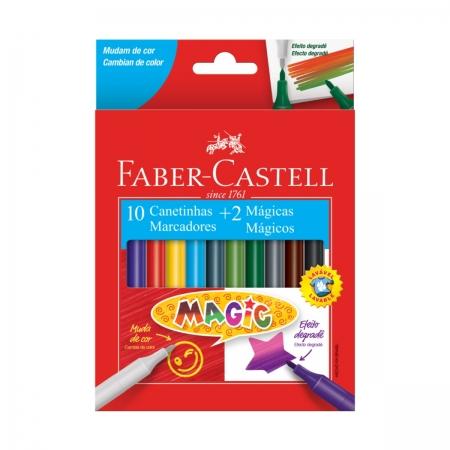 Canetinha Hidrográfica Faber Castell 10 Cores + 2 Mágicas