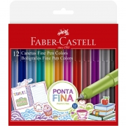 Conjunto Fine Pen 0.4mm Ponta Fina Faber Castell 12 Cores