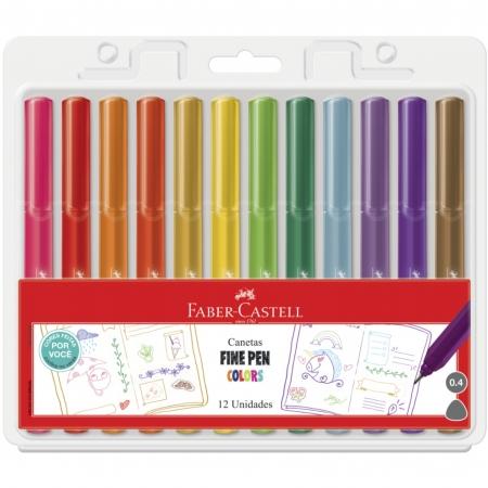 Conjunto Fine Pen 0.4mm Ponta Fina Faber Castell 12 Cores Feitas Por Você