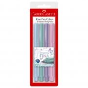 Conjunto Fine Pen 0.4mm Ponta Fina Faber Castell Tons Pastéis