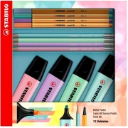 Conjunto Stabilo Boss Pastel + Point 88 + Lápis Swano Pastel