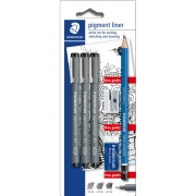 Conjunto Staedtler Pigment Liner + Lápis + Apontador e Borracha