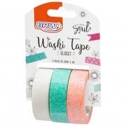 Fita Washi Tape Brw Glossy 15mmx3m Com 3 Unidades