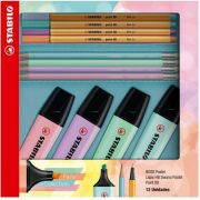 Kit Stabilo Boss Pastel + Point 88 + Lápis Swano Pastel