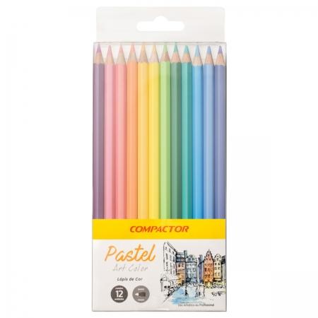 Lápis de Cor Compactor Art Color Pastel 12 Cores