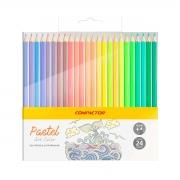 Lápis de Cor Compactor Art Color Pastel 24 Cores
