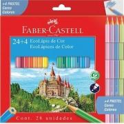 Lápis de Cor Faber Castell 24+4 Cores Pastéis