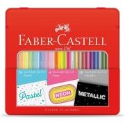 Lápis de Cor Faber Castell 24 Cores Pastel Neon e Metálico e Estojo Lata