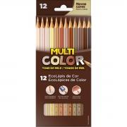 Lápis de Cor Multicolor Tons de Pele 12 Cores
