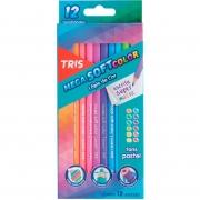 Lápis de Cor Tris Mega Soft Color Tons Pastel 12 Cores