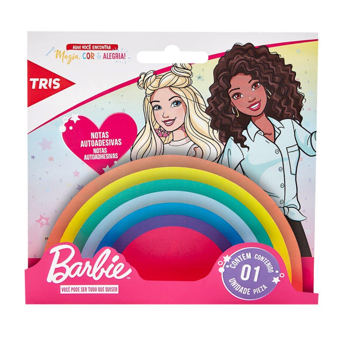 Bloco Notas Adesivas Tris Barbie Rainbow C/140 Unidades
