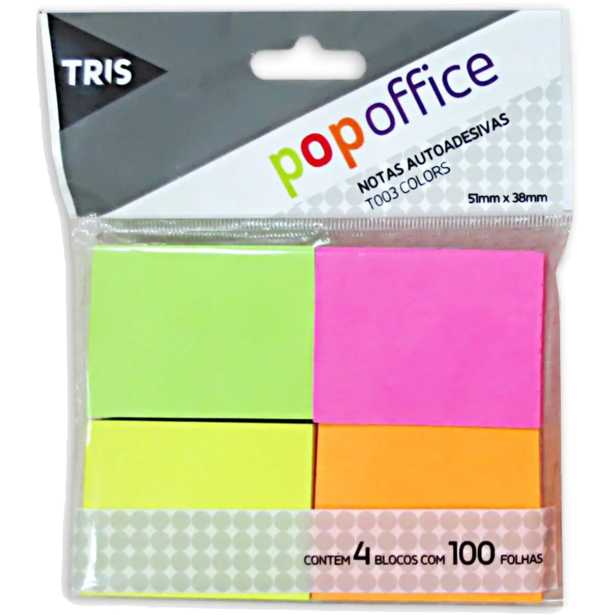 Bloco Notas Adesivas Tris Pop Office T003 Colors 50x40mm 100 Folhas