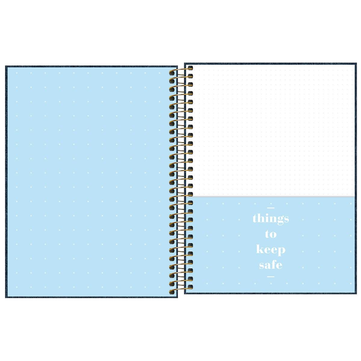 Caderno Espiral Capa Dura  Colegial 1 Matéria (80 Folhas) Cambridge  Denim Tilibra Unitário