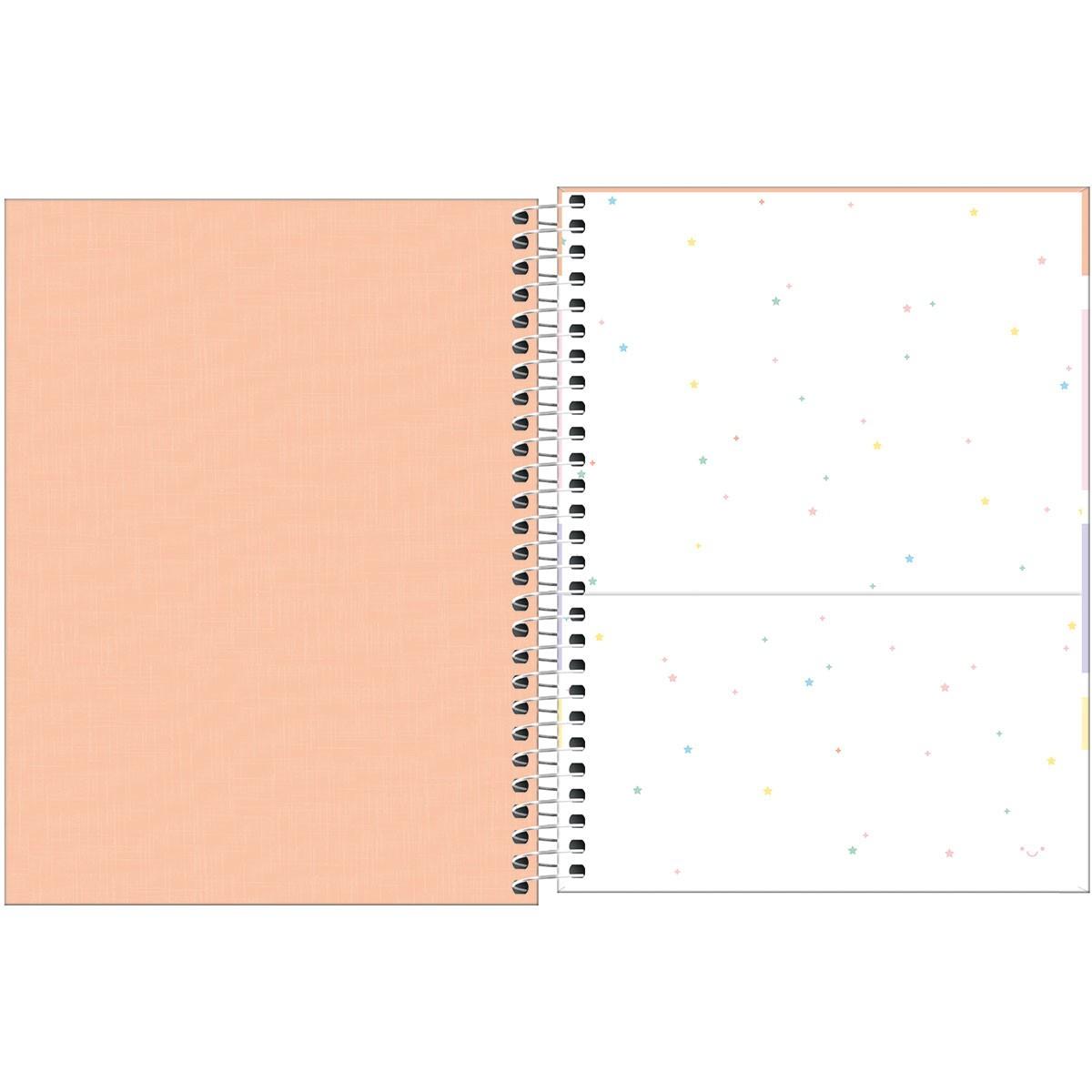 Caderno Espiral Capa Plástica Colegial 10 Matérias (160 Folhas) ou 1 Matéria (80 Folhas) Happy Tilibra Tamanho Médio