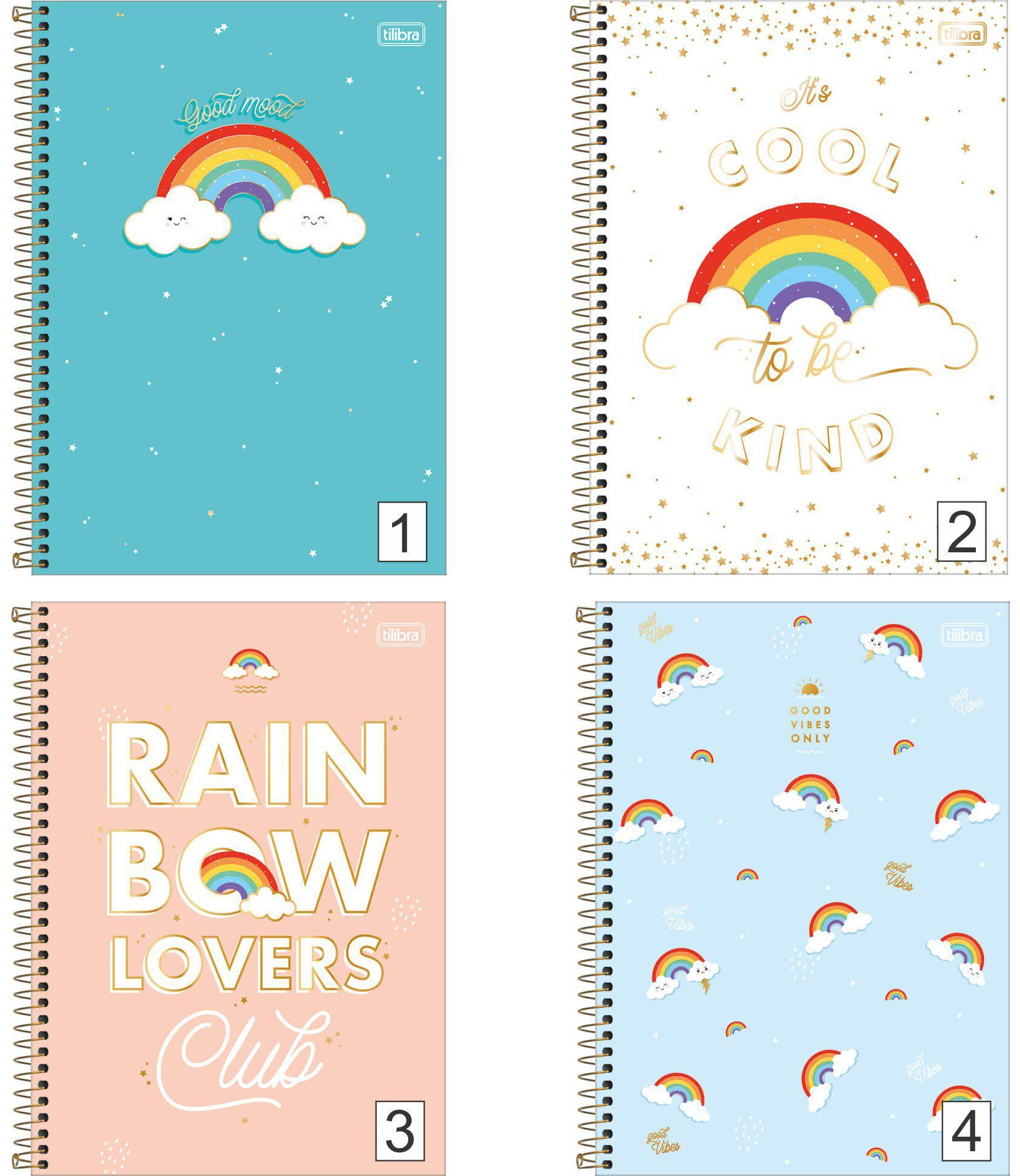 Caderno Espiral Rainbow Nuvem Tilibra
