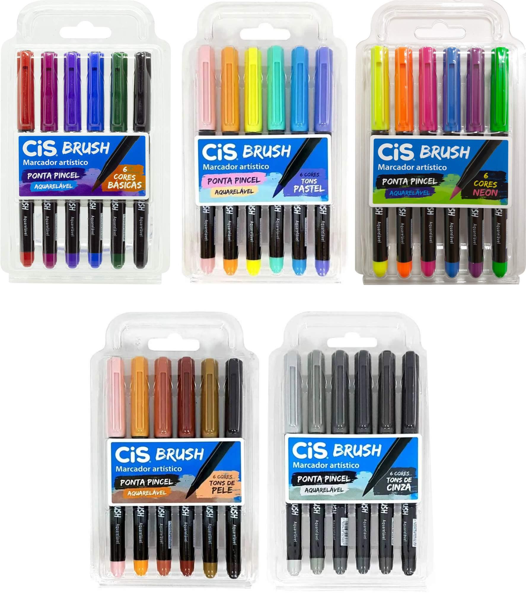 Caneta Brush Pen Cis Aquarelável 6 Cores