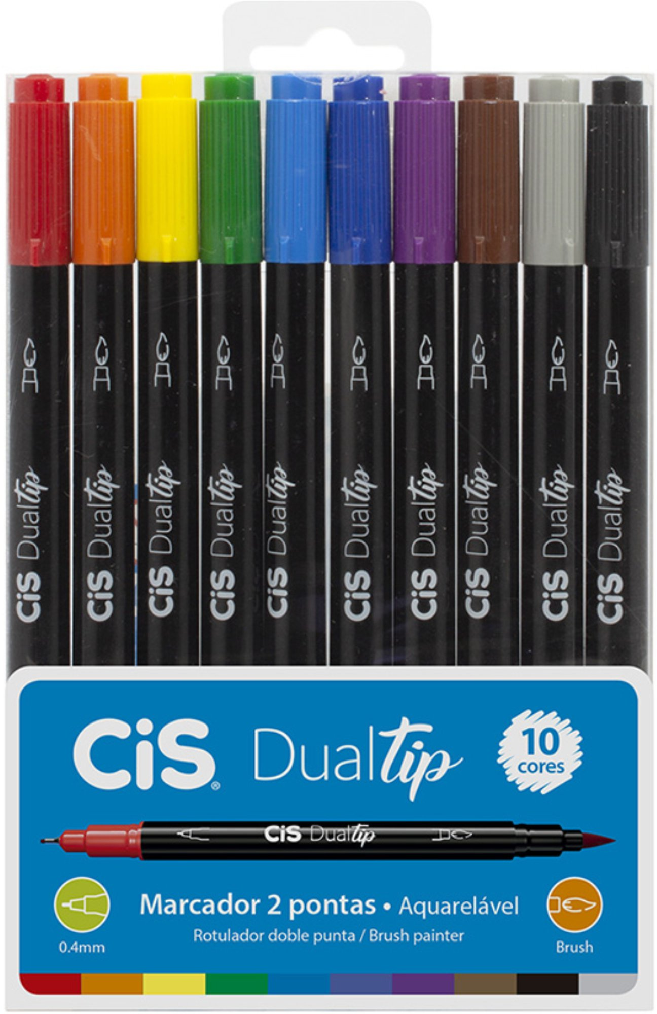 Caneta Brush Pen Dual Tip Cis 10 Cores