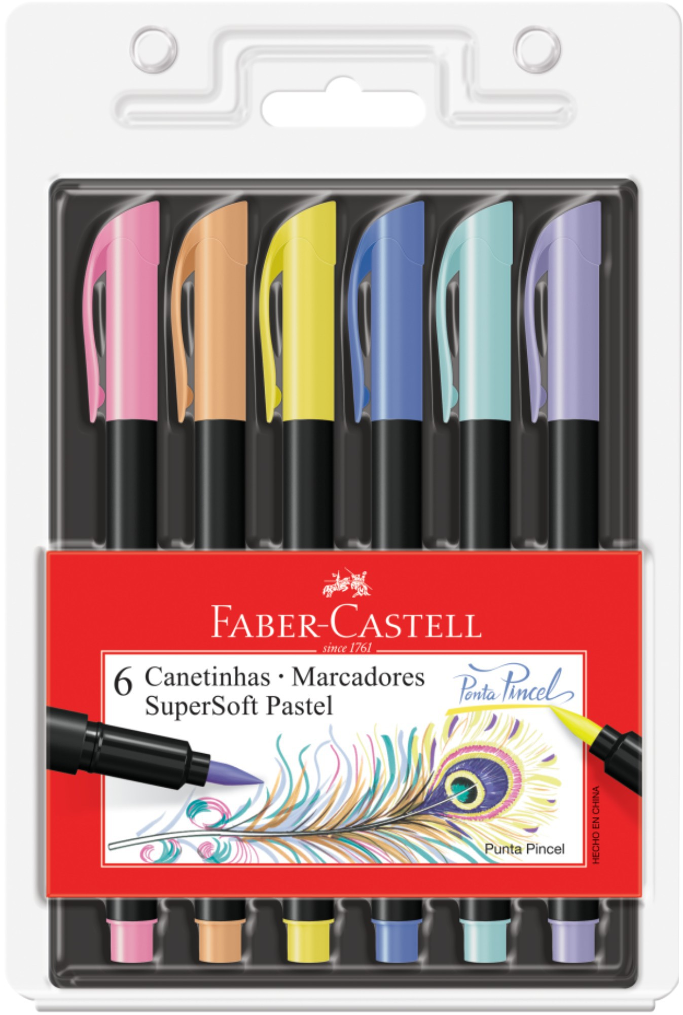 Caneta Brush Pen Super Soft Pastel Faber Castell 6 Cores